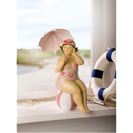Badenixe mit Kopftuch im Strandkleid lachs liegend 17 cm M/ädchen Rubensfrau mollige Dame Dicke Frau Schwimmerin Badezimmer Figur maritim Strand