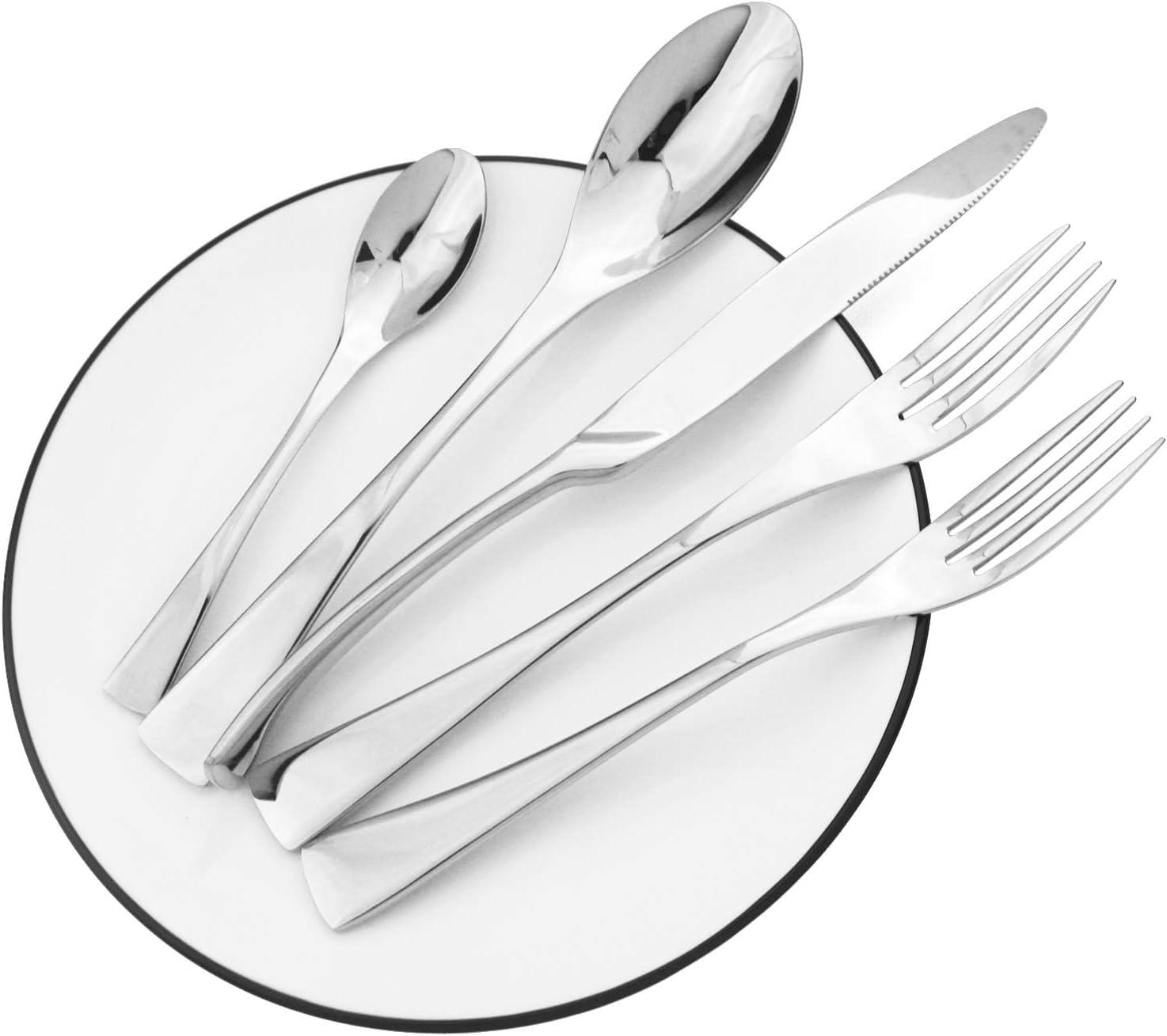BRIIEC 20-Piece Flatware OFFicial Silverware Set Inexpensive Stainless Steel 18 10 Ea