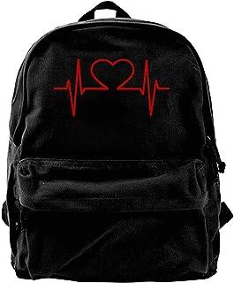 Mochila de Lona Enfermera y corazón ECG Mochila de enfermería Gimnasio Senderismo Bolsa de Hombro para computadora portátil Mochila para Hombres Mujeres