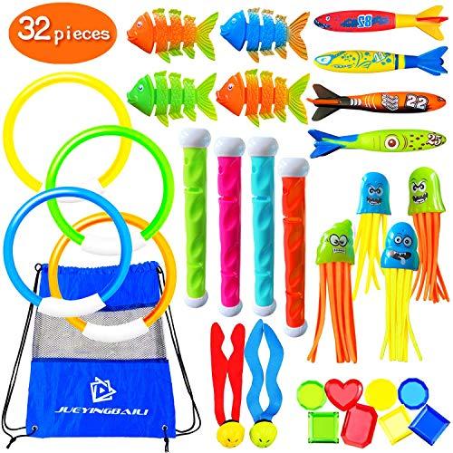 Kppalex Underwater Swim Pool Diving Toys - 30 Pcs Summer Swimming Dive Toy Sets - Water Rings,Sticks,Octopus,Torpedo Bandits,Fish & Balls for Kids