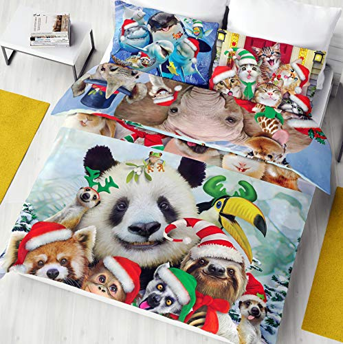Selfies Christmas Single/Double Duvet Cover Reversible Bedding Set Cute Animal Xmas Gift (Double Duvet)