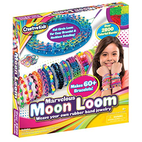Moon Loom DIY Rubber Band Bracelet Making Craft Kit for Kids Boys Girls & Adults - Colored Rubber Bands for 60+ Bracelets - Rubberband Maker Set, Birthday Holiday Craft Kids Gift Set Ages 8-12
