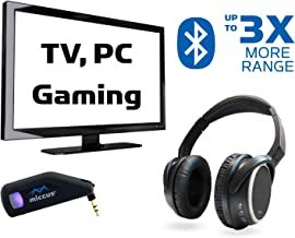 Wireless TV Headphones with TV Bluetooth Adapter System, Listen in HD, No Audio Delay, Over Ear Bluetooth 5 Headset Ready to Use, Paired for Free, 100 Foot Range, Mic (AUX RCA 3.5mm USB PC) Miccus