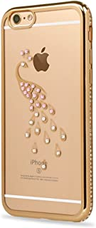iPhone 6S Plus Case,iPhone 6 Plus Case,GIZEE Luxury Peacock Glitter Bling Crystal Rhinestone Diamonds Clear Rubber Gold Plating Frame TPU Soft Silicone Bumper Case Cover for iPhone 6/6S Plus 5.5
