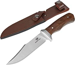 MOSSY OAK 11-inch Full-tang Fixed Blade Knife with Leather Sheath, Clip Point Blade and Wood Handle, for Outdoor Survival, Camping, Tactical