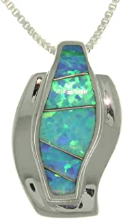 Created Blue Opal Curved Half-Hoop Sterling Silver Pendant Necklace 18