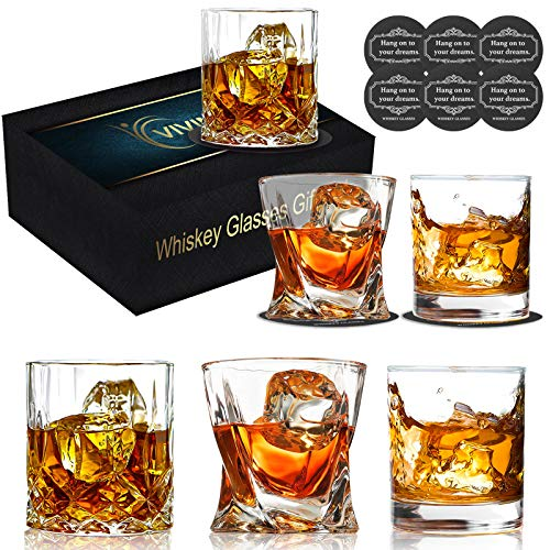 Whiskey Glasses Set of 6, Vivimee Bourbon Glasses with Drink Coasters, Multi Style Cocktail/Scotch Glasses with Box, Rocks Glasses Old Fashioned Glass Set 10 oz, 11 oz - Bar Glasses Gifts for Men