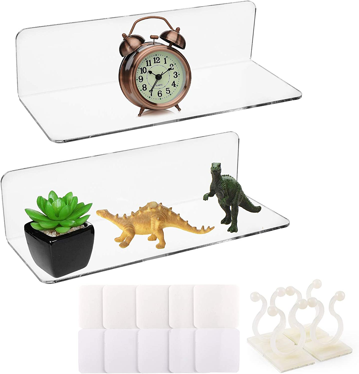 Tebery 2 Super Special SALE held Pack Clear Acrylic Floating Mounted Wall with Max 62% OFF Shelves C
