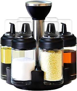 6 علب دوارة بهار منظم للأطباق خالية من الرصاص مع علبة دوارة بزاوية 360 درجة وملح وفلفل الهزازات لتوابل زيت السكر