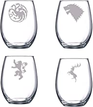 Etched Game of Thrones Stemless Wine Glass Set of Four (By Brindle Designs) House Targaryen, Lannister, Baratheon, Stark Wine Glass