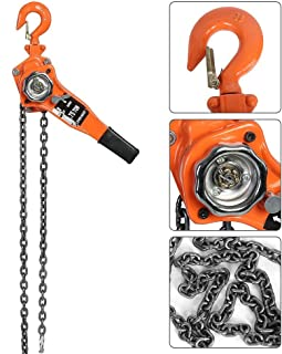 Polipasto de cadena, elevador manual de 3 m, trinquete, polipasto, palanca de tracción, peso elevación 750 kg, 1