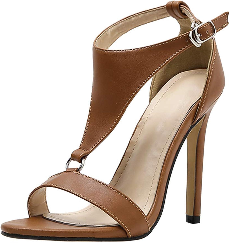 Cenglings T-Strap Pumps,Women's Open Toe Hollow Out Sandals Stiletto Heel Pumps Belt Buckle Sandals Party Evening Dress shoes
