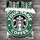 KUKHKU - Juego de cama de 3 piezas, diseño de Starbucks con logotipo de café personalizable, 3 piezas con 2 fundas de almohada