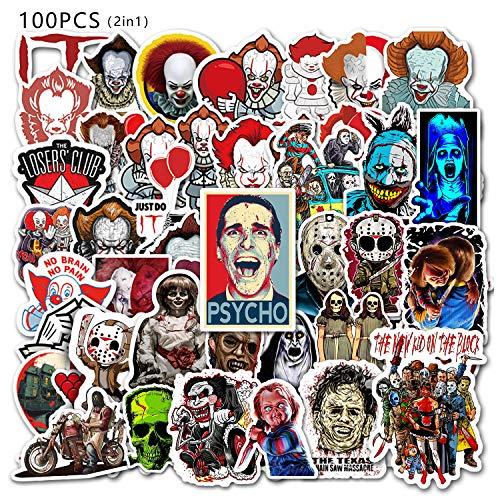 GTOTd Pegatinas de temática terrorista (100 unidades), diseño de Halloween, terror, película de terror, regalos juguetes para niños, adolescentes
