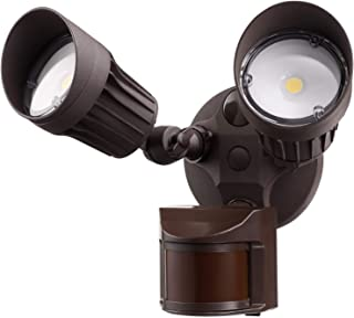 LEONLITE 2 HeadLED Outdoor SecurityFloodlightMotionSensor, NewlyDesigned3LightingModes,ETL&DLCListed,1800lm,WaterproofIP65for Eave,Entryway,5-YearWarranty,3000K Warm White,Bronze