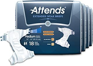 Attends Extended Wear Briefs with Dry-Lock Containment Core for Adult Incontinence Care, Medium, Unisex (72 Count)