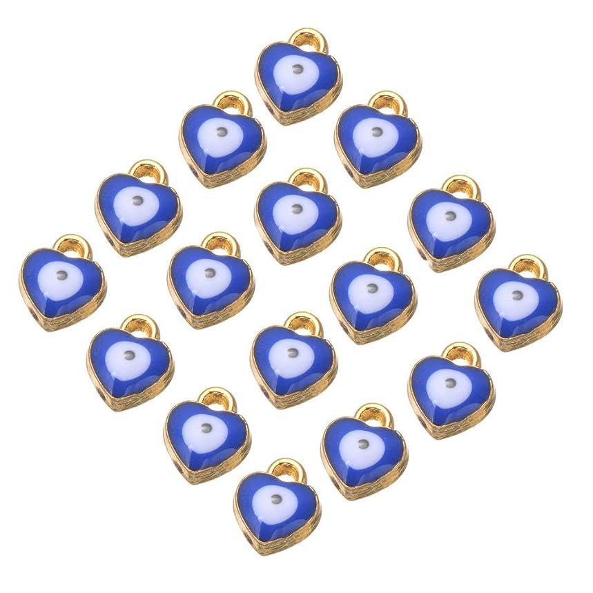 Mystart 100 Pieces 8x7mm Mini Alloy Enamel Heart Shape Evil Eye Beads Charms Pendants DIY Bracelet Necklace Jewelry Accessories (Blue)