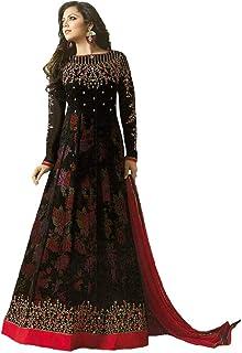 MONIKA SILK MILL Women's Georgette Semi-stitched Salwar Suit (MSAMLT 1003_Black_Free Size)