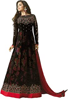 Monika Silk Mill Women's Georgette Embroidered Semi Stitched Anarkali Salwar Suit (Black Color_MSAMLT 1003)