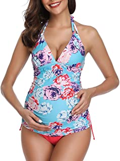 Women Halter Maternity Tankini Swimsuit Floral Pregnancy Plus Size Swimwear
