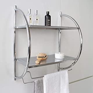 Étagère de salle de bain, porte-serviettes avec 2 étagères et 2 pendentifs pour serviettes. Étagère de rangement pour cosm...