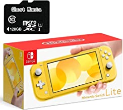 """$299 » Newest Nintendo Switch Lite Game Console, 5.5"""" Touchscreen, Built-in Plus Control Pad, Yellow, W/Ghost Manta 128GB Micro SD Card, Built-in Speakers, 3.5mm Audio Jack, Bluetooth 4.1, 0.61 lbs"""