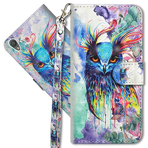 MRSTER Sony Xperia XA1 Ultra Handytasche, Leder Schutzhülle Brieftasche Hülle Flip Hülle 3D Muster Cover mit Kartenfach Magnet Tasche Handyhüllen für Sony Xperia XA1 Ultra. YX 3D - Colorful Owl