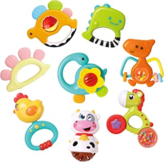 GILOBABY Baby Animal Rattle Teether, Shaker, Roll Rattle, Early Educational Toys for 3 6 9 12 18 Month Baby Infant Toddle...
