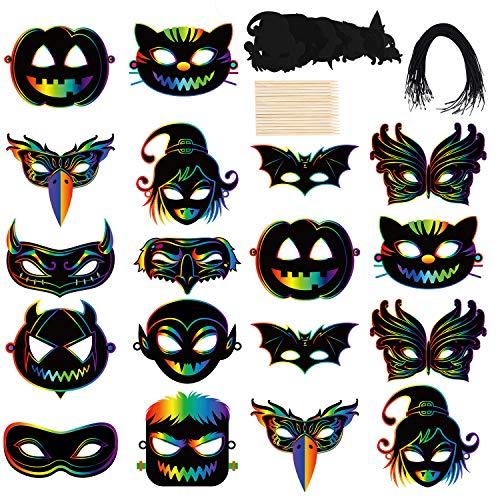 Cooraby 18 Pack Magic Scratch Art Masks Rainbow DIY Art Craft Kit Halloween...