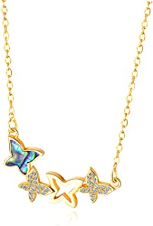 Girls simple personality fashion butterfly necklace Student copper gold-plated microinlaid zirconium clavicle chain