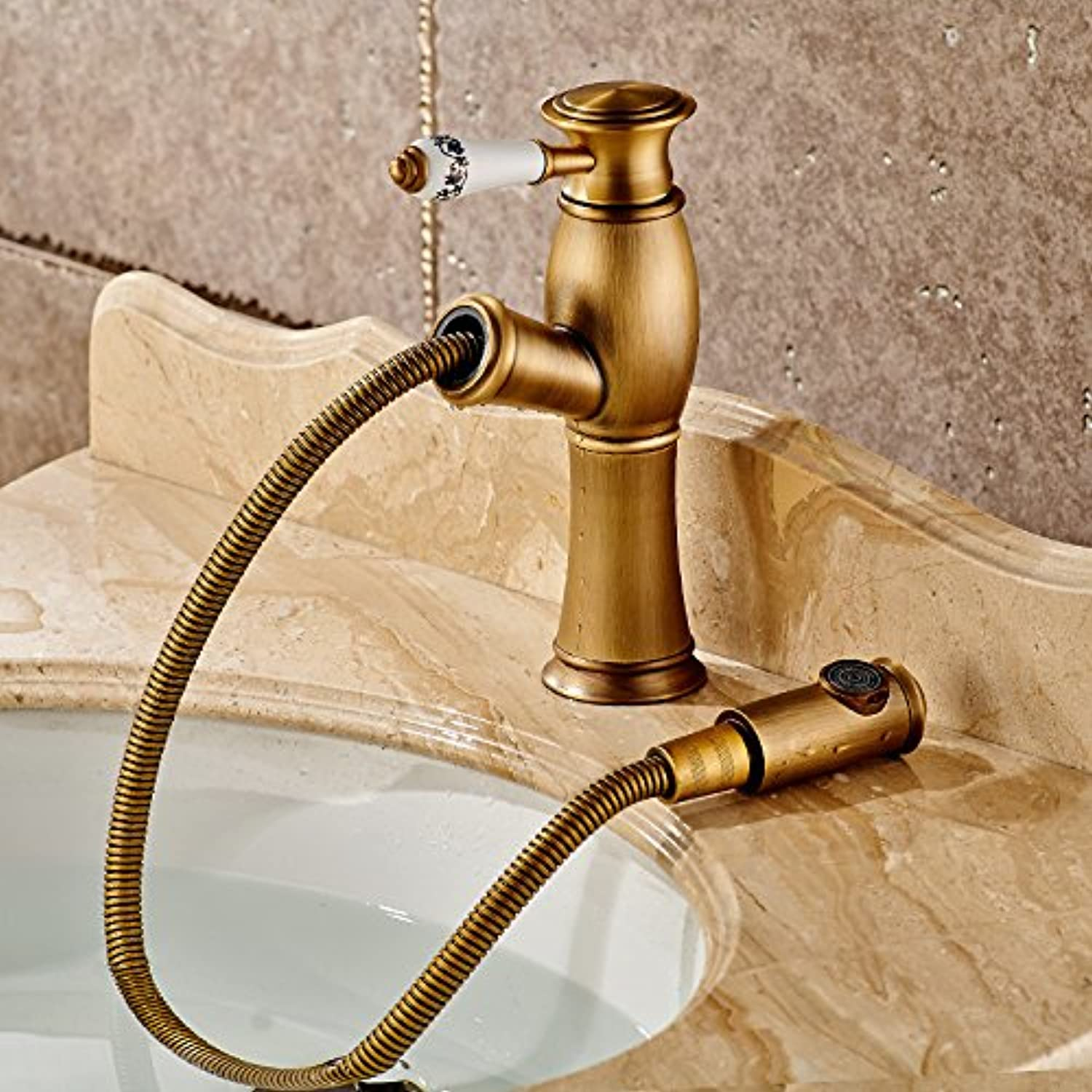 Hlluya Professional Sink Mixer Tap Kitchen Faucet Antique basin mixer bathroom full copper pull hot and cold water faucets antique telescopic lowered basin, antique pull-down Faucet