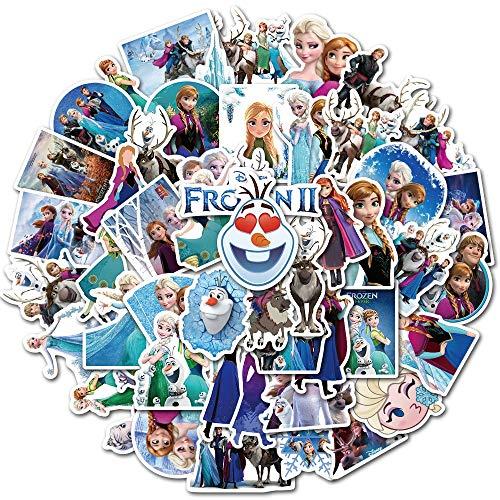 DUOYOU Princess Elsa Graffiti Frozen Pegatina para niños en el ordenador portátil, monopatín, maleta, bicicleta, 50 unidades