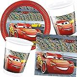 37piezas Party * Cars III * con plato + taza + Servilletas + Globos para una fiesta de Disney//infantiles set decoración niños Cumpleaños temática coches de carreras
