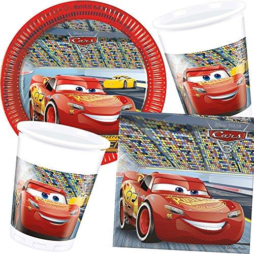 Dekospass/CARPETA 37-teiliges Partyset * Cars III * mit Teller + Becher + Servietten + Luftballons für eine Disney-Party // Kindergeburtstag Kinder Feier Set Deko Kinder Geburtstag Motto Rennautos