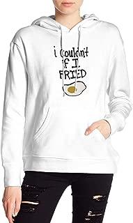 I Couldn't If I Fried レディース フード付きトレーナー White