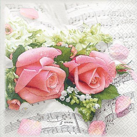 20 Servietten Flower Symphony – Blumen-Symphonie/Blumen/Liebe/Hochzeit 33x33cm