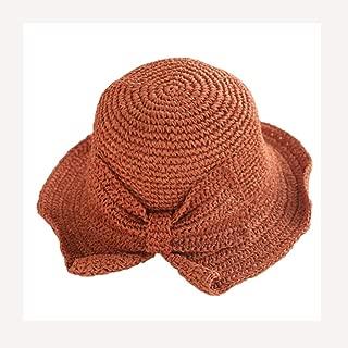 Vadeytfl Straw Hat Female Summer Sun Hat Beach Hat Fisherman Hat Straw Braid Visor Sun Hat (Color : Orange)