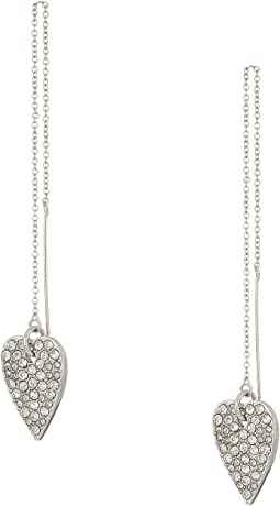 Betsey Johnson Blue by Betsey Johnson Silver with Crystal Heart Threader Earrings