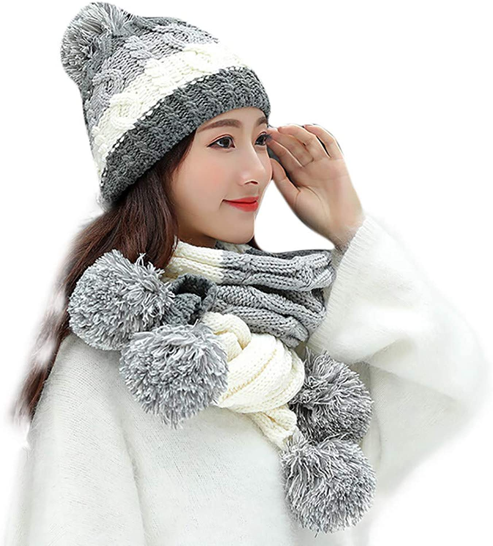 Clrarence Hat Adult Women Men Winter Crochet Hat Knit Hat Wheat Hairball Warm Cap