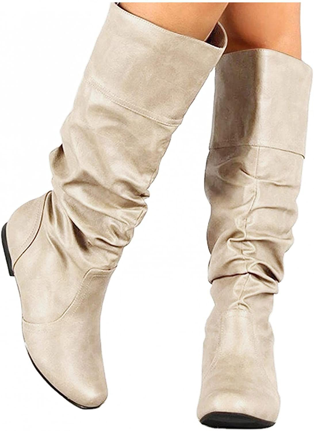 Eduavar Boots for NEW before selling ☆ Women We OFFer at cheap prices Women's Fashion Slouchy Toe Buckl Round
