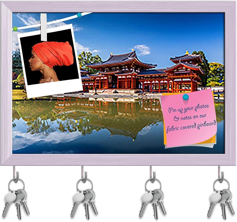 Artzfolio Byodo in Buddhist Temple in Uji, Kyoto, Japan Key Holder Hooks   Notice Pin Board   White Frame 17.5 X 12Inch