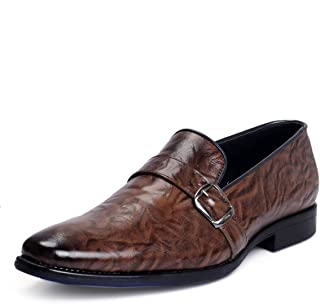 Bacca Bucci Genuine Leather Smart Slip on Formal Dress Shoes-Textured Brown