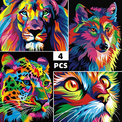 Maysurban 4 Paquetes DIY 5d Diamante Pintura Taladro Completo Kit de Bordado de Diamante 5D de Punto de Cruz 30x40CM para Adultos, Gato Leopardo león Lobo