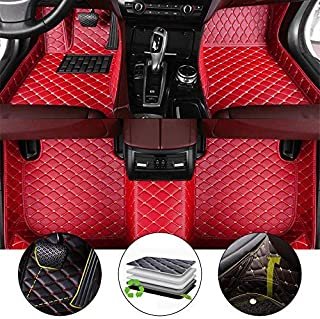 All Weather Floor Mat for 2011-2012 Fiat 500 Hatchback Full Protection Car Accessories Red 3 Piece Set