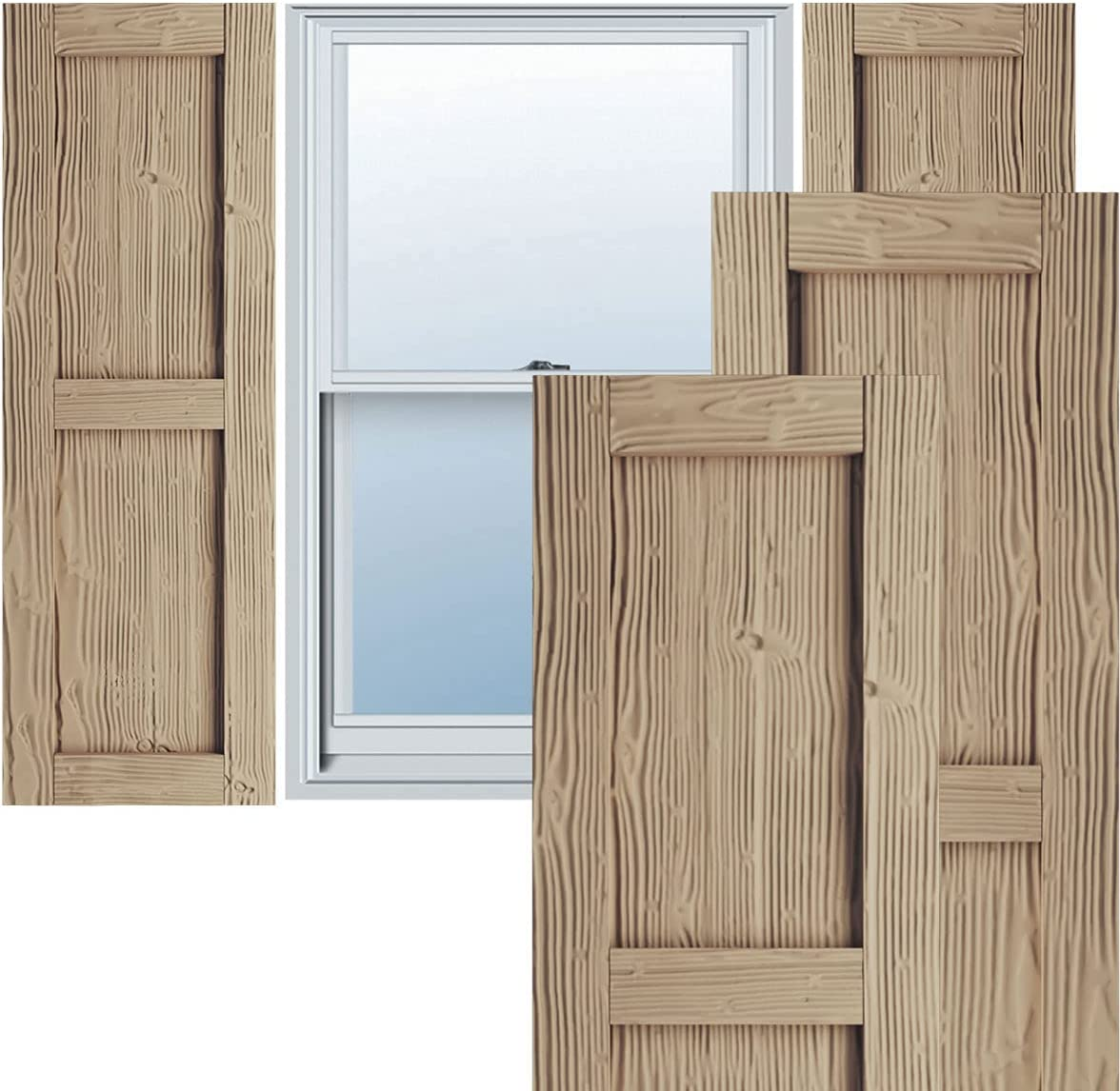 Ekena Millwork SHULVPC Faux Ranking TOP7 New life Wood Pair Rustic Per Two Shutters