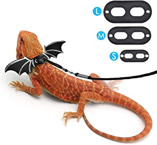 DETUOSI Adjustable Bearded Dragon Harness, Lizard Leash, Made of Premium Soft Leather with Cute Wings for Lizard Reptiles Amphibians and Other Small Pet Animals [3 Sizes Packed]