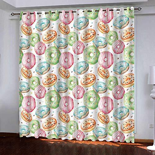 CHNXXL vorhänge kinderzimmer 3D Drucken Donuts Lichtundurchlässige Vorhang mit Ösen Polyester Blickdicht Gardinen für Schlafzimmer Wohnzimmer 280(W) x215(H)(cm) 2 Stücke