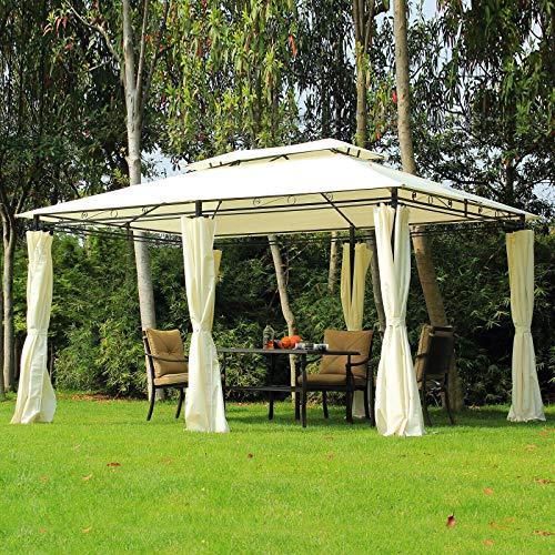 ADHW Garden Gazebo Party Tent Pivillion Shelter Curtains Sidewalls Steel 4m x 3m (Color : Beige)