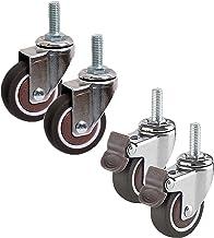 4 stuks rubberen wielen met zwenkwielen, wielen met remmen, meubels 360 ° draaibaar, met standaard stam M8/M10, kogellager...