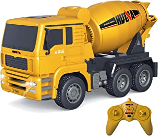 Fistone RC Cement Mixer Truck 6 Channel 1/18 Scale Auto Dumping Construction Vehicle Toy for Kids Boys Age 6 8 10 12 Years Old